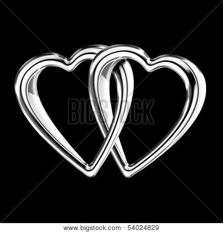 Linked Silver Hearts Isolated On Black