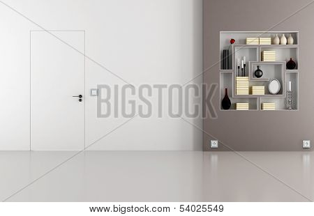 Doors Flush With The Wall In White And Brown Room