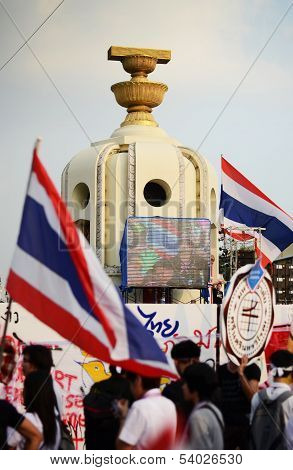 Bangkok - November 11 : The Democrats Are On The March At Democracy Monument