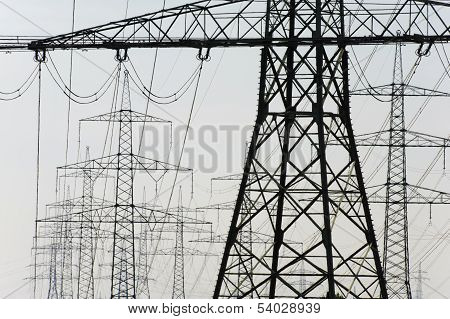 group of electric power poles