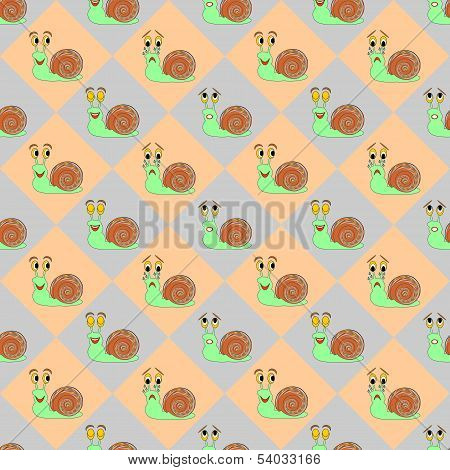 Colorful Diamond Children Pattern With Funny Cartoon Snails