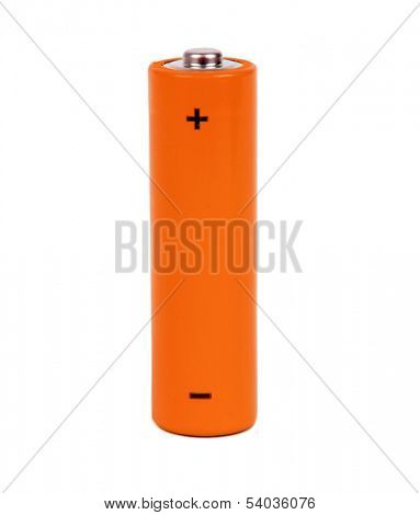 orange battery with positive and negative signs
