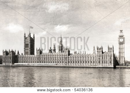 London Parliament house, black and white, vintage photo.