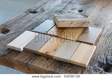 Samples Of Different Kinds Of Wood In A Furniture Shop