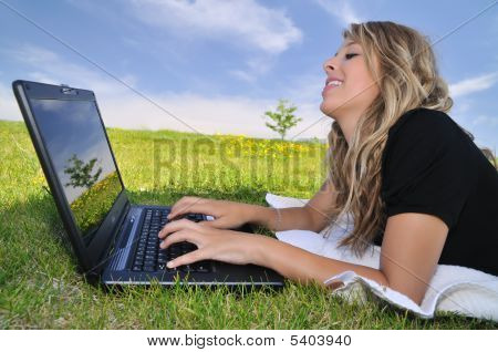 Young Lady With Computer