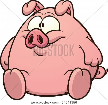 Fat pig clip art. Vector cartoon illustration with simple gradients. All in a single layer.