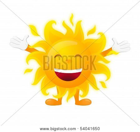Happy sunny character isolated on white background