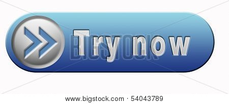 Try now button or blue icon free trial