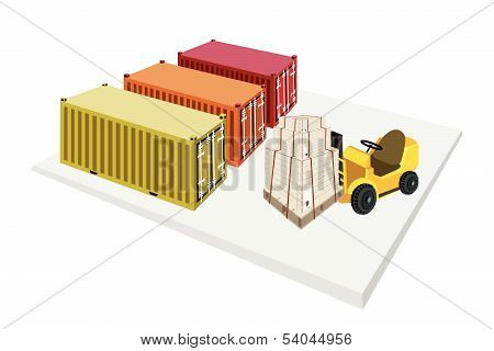 Forklift Truck Loading Shipping Boxes Into Containers
