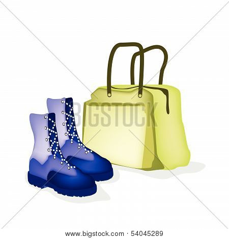 Travel Bag And Women Shoes Of Traveller