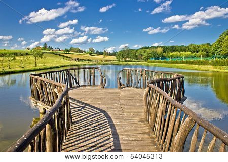Lake In Green Nature Wooden Boardwalk