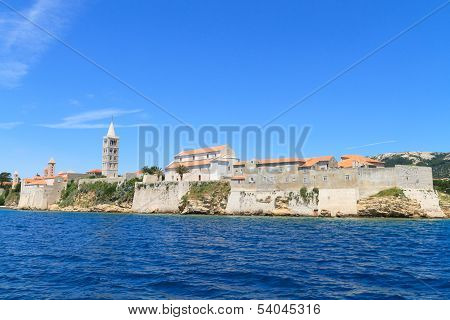 Croatian Island Of Rab, View On City And Fortifications, Croatia