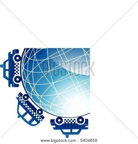 Taxi Globe Icon Set
