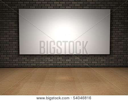 Concept or conceptual retro wood, wooden floor and old brick wall with white exhibition banner or poster vintage background design