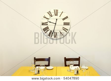 interior of a restaurant, dining table prepared