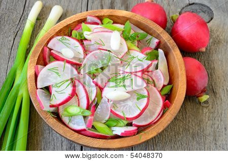 Radish Salad In Brown Bowl