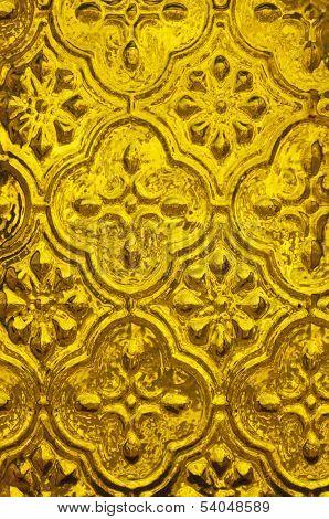 Background of golden textured glass