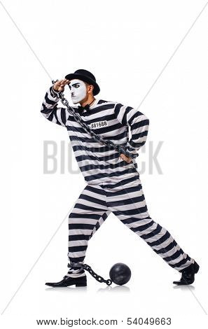 Funny man with facemask mask with shackles on white