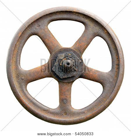 Industrial Valve Wheel And Stem, Weathered Grunge Latch Macro Closeup Isolated