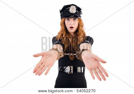 Redhead police officer isolated on white