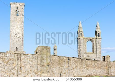 ruins of St. Rule's church and cathedral, St Andrews, Fife, Scotland