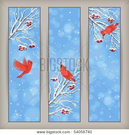 Vertical Christmas Banners Bird Rowan Branches