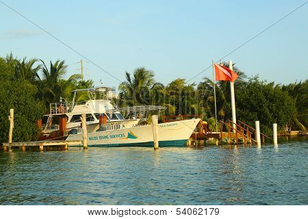 Belize Diving Services boat in Caye Caulker