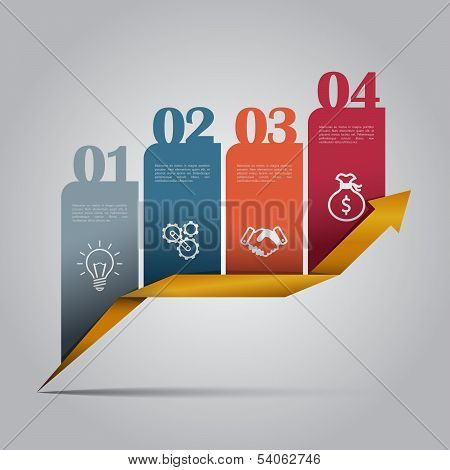 Colorful business infographics with 4 steps.