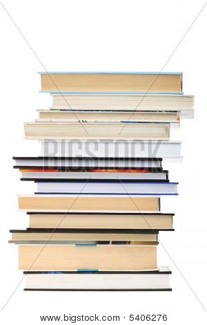 Book Stack Isolated On White Background With Copy Space
