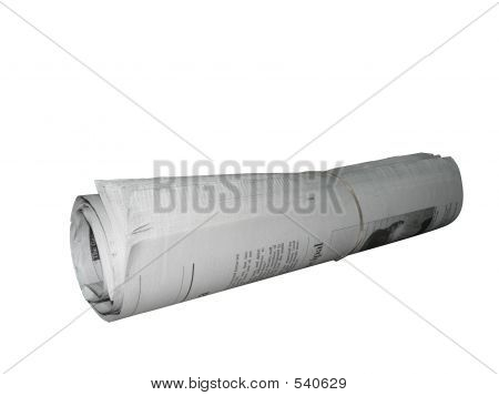 Newspaper  Rolled Isolated By Clipping Path