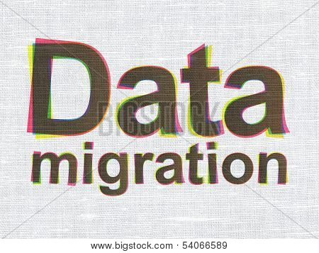 Data concept: Data Migration on fabric texture background