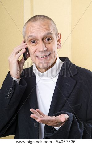 Smiling And Agreeable Man On Phone