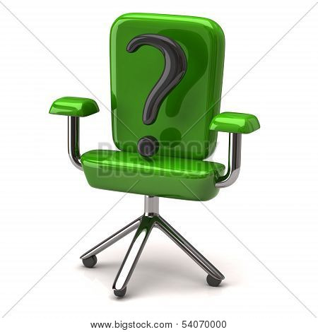 Chair with question mark