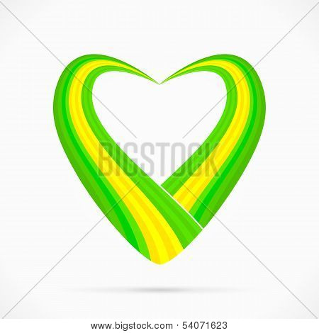Green yellow green heart