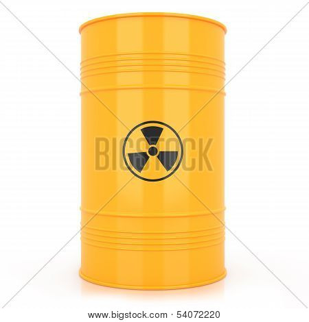 Yellow Barrel With Radioactive Waste