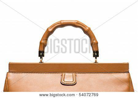 Closeup Of Light Brown Leather Handbag Handle