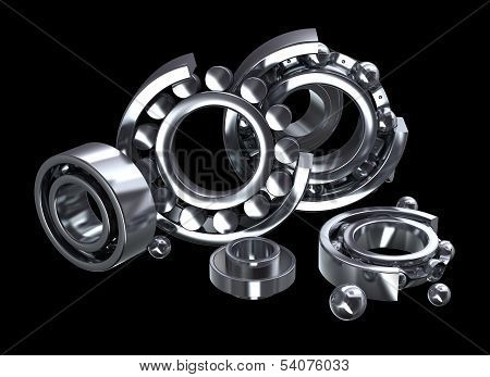 Detailed bearings production over black