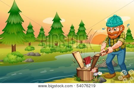 Illustration of a man chopping woods at the riverbank