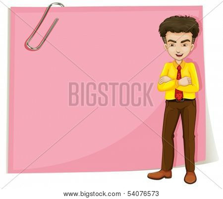 Illustration of a man in front of a pink empty template with a paperclip on a white background