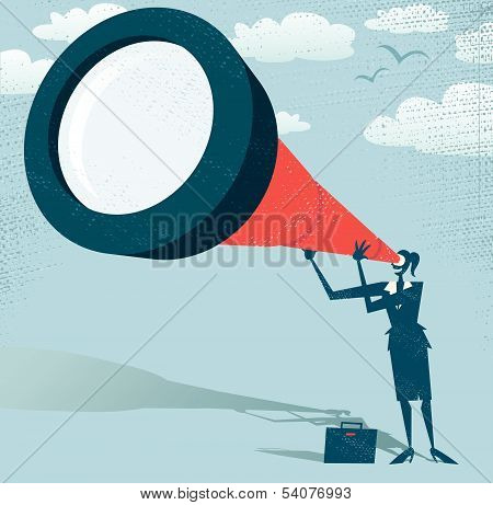 Abstract Businesswoman Looks Through Her Telescope.eps