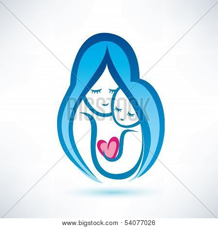 Mother And Child Vector Symbol, Love Concept