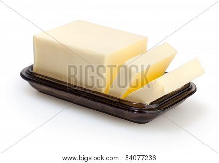 Butter In Butterdish Isolated On White Background With Clipping Path