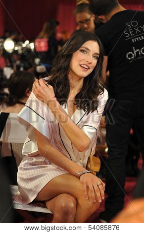 NEW YORK NY - NOVEMBER 13: Jacquelyn Jablonski backstage at the 2013 Victoria's Secret Fashion Show