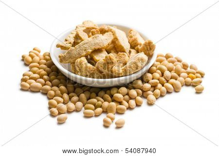 soybeans and soy meat on white background