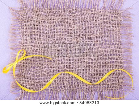 Burlap Patch  With Yellow Ribbon