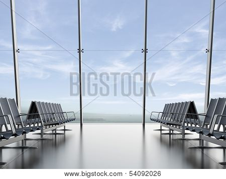 departure lounge at the airport
