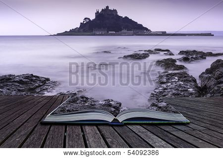 Creative Concept Pages Of Book St Michael's Mount Bay Marazion Landscape Pre-dawn Long Exposure Corn