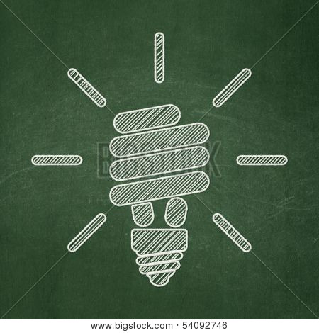 Business concept: Energy Saving Lamp on chalkboard background