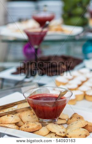 Buffet With Cookies, Tarts And Jam