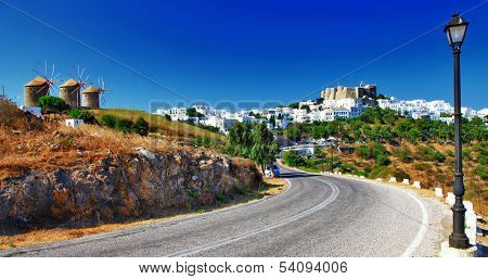 scenic Greece -Patmos island. view of Chora and windmills